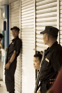 Security Guards outside the Bank